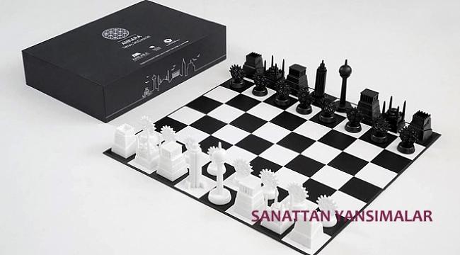 Ankara temalı satranç takımı da fuarda...