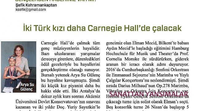İki Türk kızı daha Carnegie Hall'de çalacak