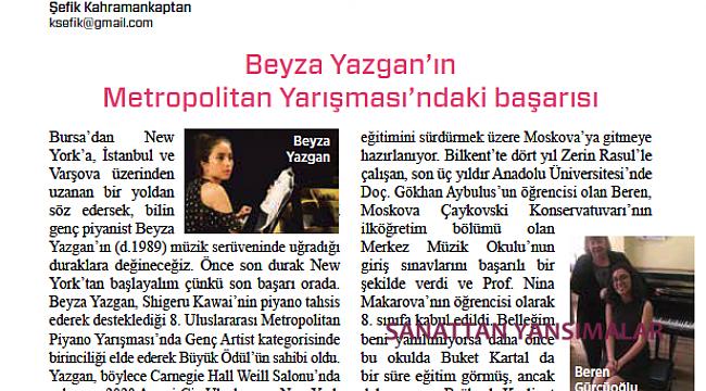 Beyza Yazgan'ın NY Metropolitan Yarışması'ndaki başarısı