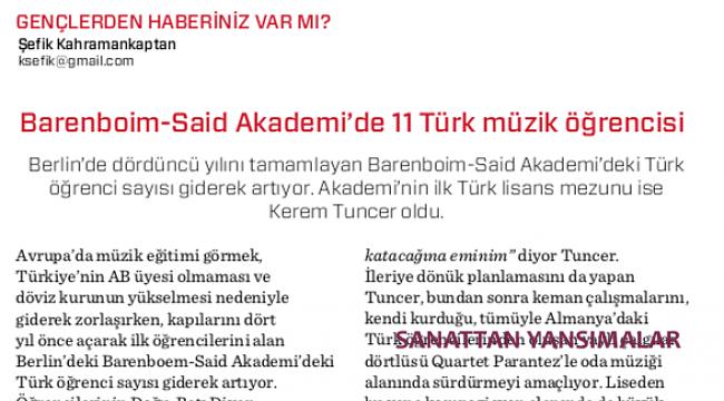 Barenboim-Said Akademi 'de  12 Türk müzik öğrencisi